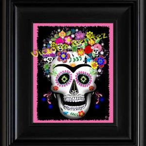 FRIDA KAHLO day of the dead PINK SU..