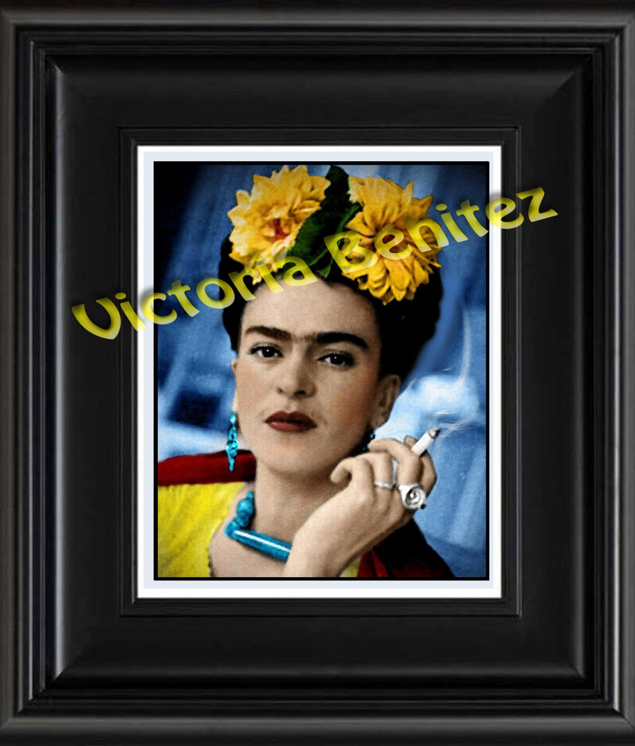 FRIDA KAHLO day of the dead CEMPAZUCHILES digital oil painting design 8' X 10' photo print