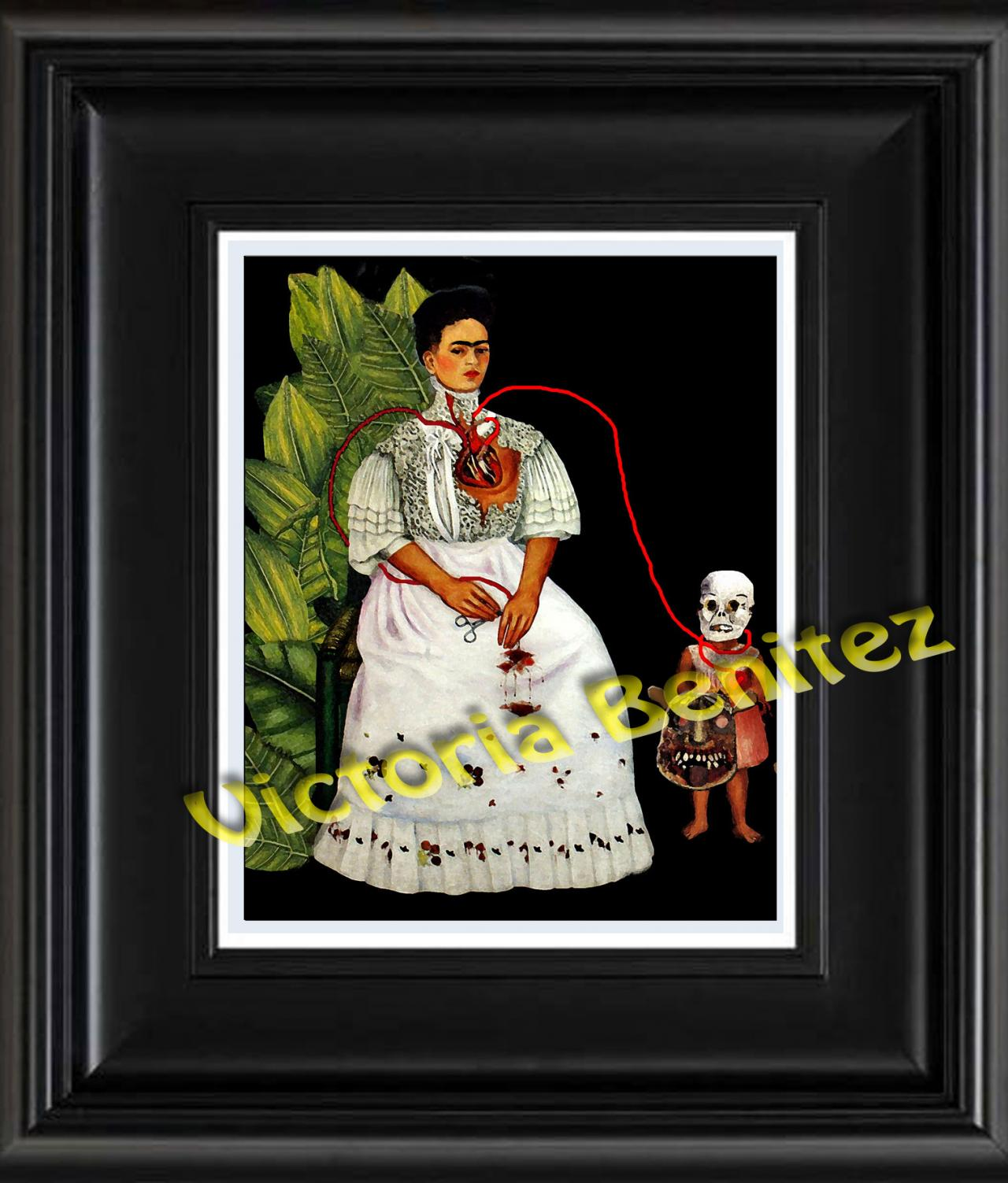 FRIDA KAHLO day of the dead TWO FRIDAS digital oil painting design 8' X 10' photo print