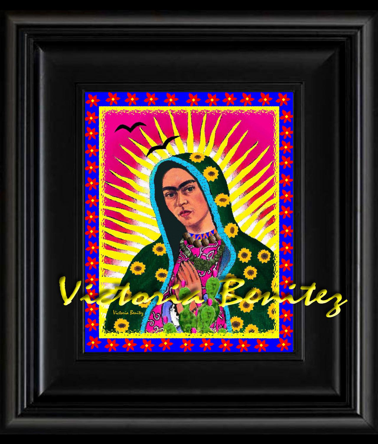 FRIDA KAHLO day of the dead VIRGIN DE GUADALUPE digital oil painting design 8' X 10' photo print
