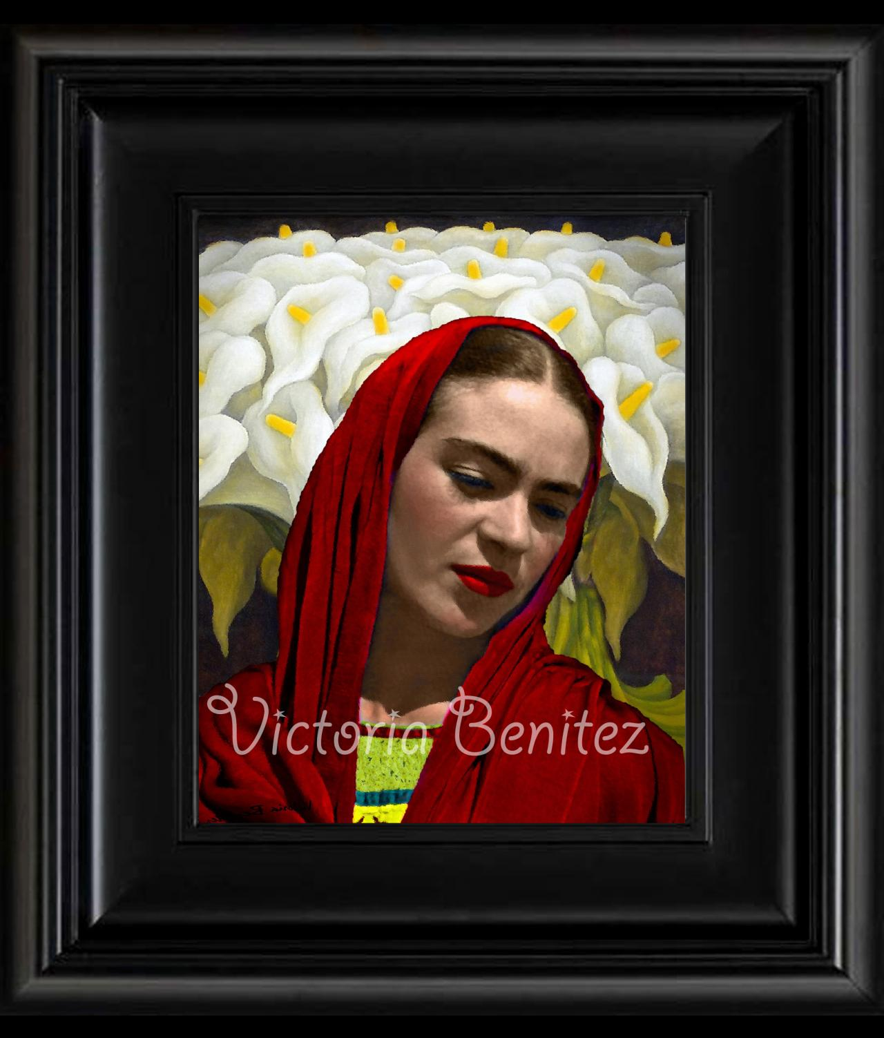 FRIDA KAHLO day of the dead CALLA LILIES IN orange SHALL digital oil painting design 8' X 10' photo print