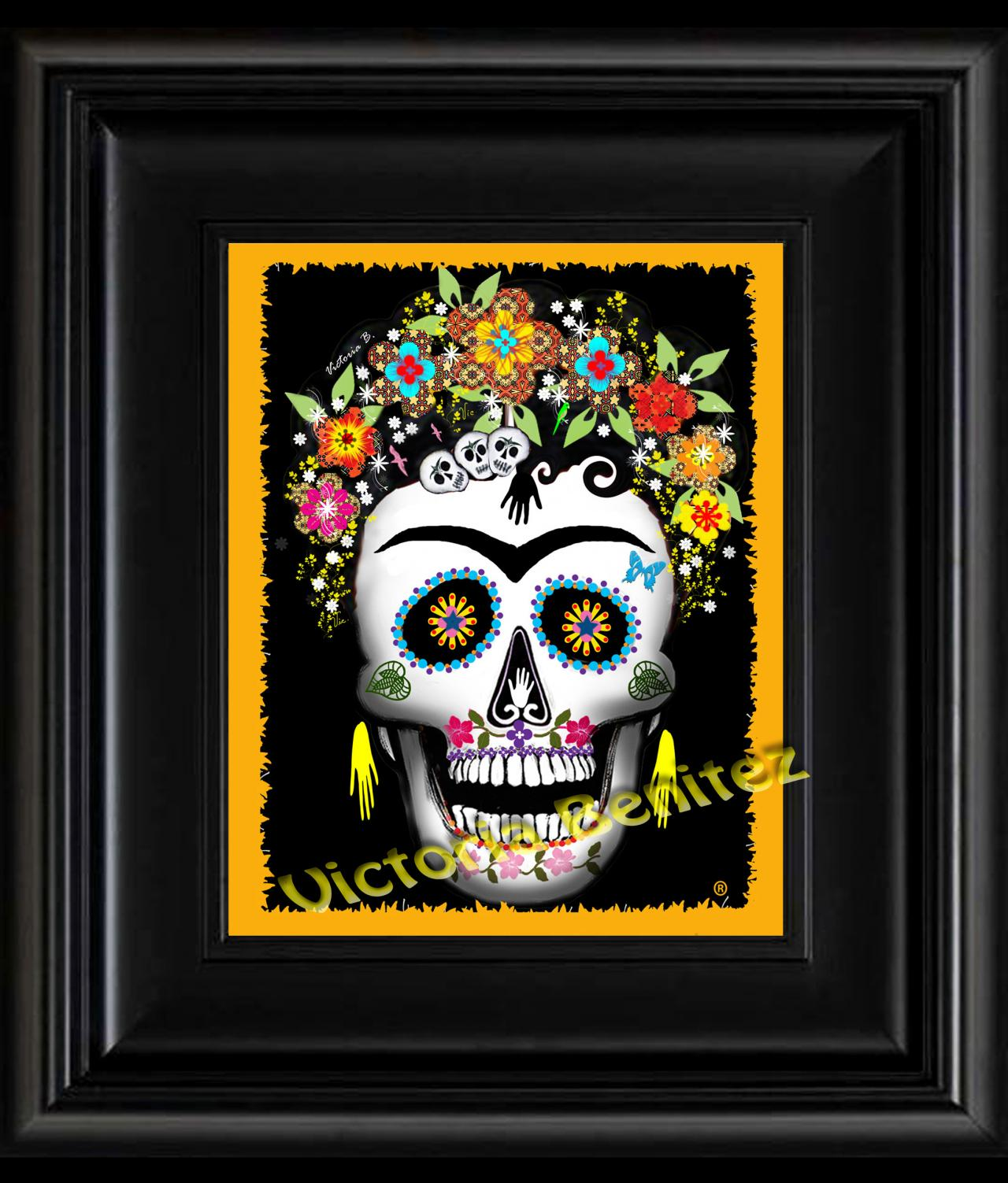 FRIDA KAHLO day of the dead YELLOW SUGAR SKULL digital oil painting design 8' X 10' photo print