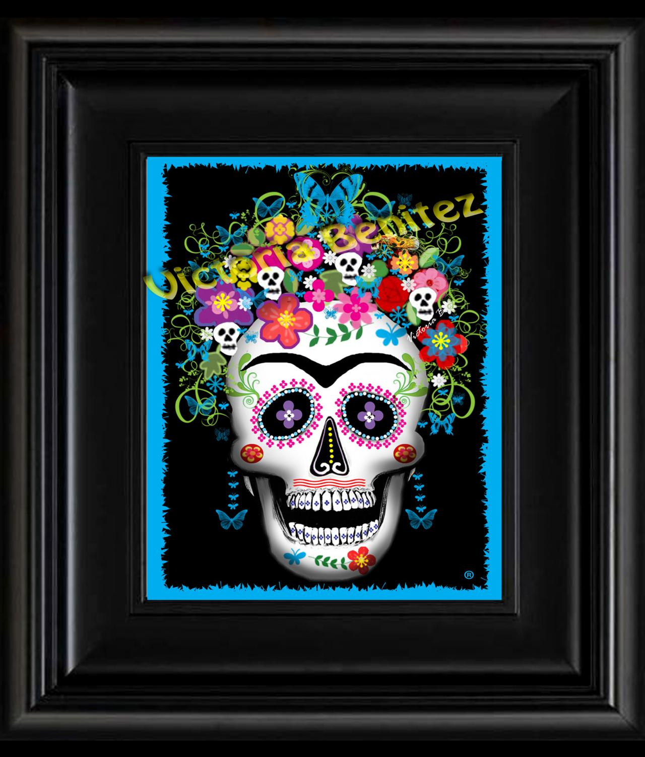 FRIDA KAHLO day of the dead BLUE SUGAR SKULL digital oil painting design 8' X 10' photo print