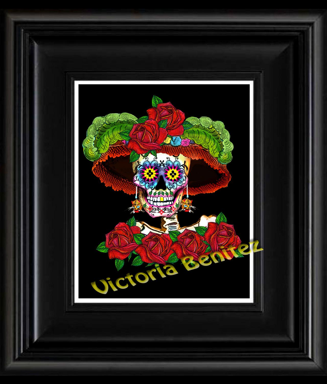 FRIDA KAHLO day of the dead MY CATRINA SUGAR SKULL digital oil painting design 8' X 10' photo print