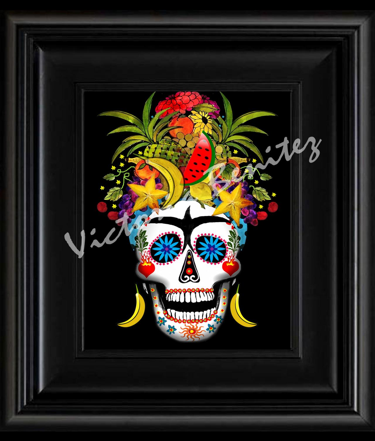 FRIDA KAHLO day of the dead RIO SUGAR SKULL digital oil painting design 8' X 10' photo print