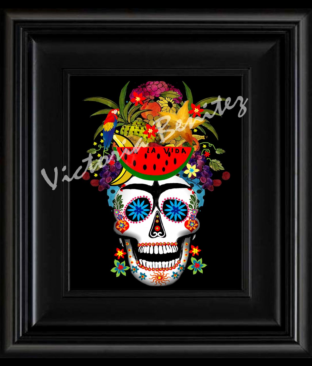 "FRIDA KAHLO day of the dead RIO WATERMELON SUGAR SKULL digital oil painting design 8"" X 10"" photo print"