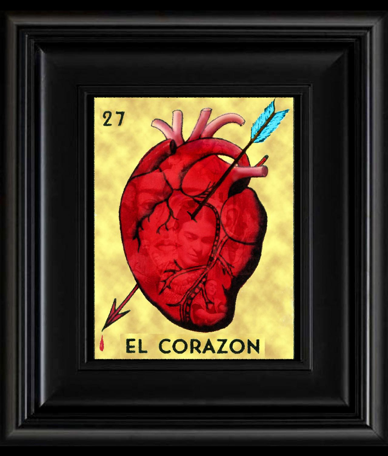 FRIDA KAHLO day of the dead LA LOTERIA EL CORAZON CARD digital oil painting design 8' X 10' photo print