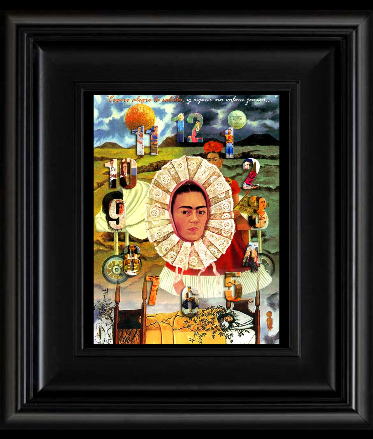 FRIDA KAHLO day of the dead EL RELOJ digital oil painting design 8' X 10' photo print