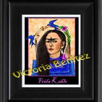 FRIDA KAHLO day of the dead BLUE BIRD digital oil painting design 8