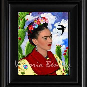 FRIDA KAHLO day of the dead CACTUS NOPALES digital oil painting design 8