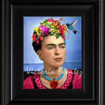 FRIDA KAHLO day of the dead HUMMINGBIRD digital oil painting design 8