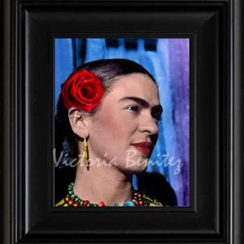 FRIDA KAHLO day of the dead THE RED ROSE digital oil painting design 8