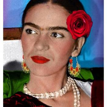 FRIDA KAHLO day of the dead LA ROSA ROJA digital oil painting design 8