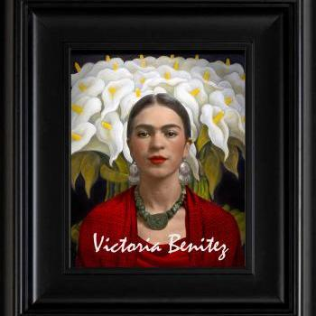 FRIDA KAHLO day of the dead CALLA LILIES RED digital oil painting design 8