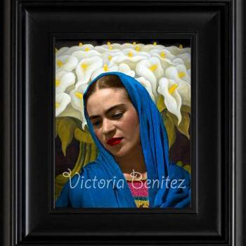 FRIDA KAHLO day of the dead CALLA LILIES IN BLUE SHALL digital oil painting design 8