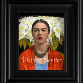 FRIDA KAHLO day of the dead CALLA LILIES IN naranja SHALL digital oil painting design 8