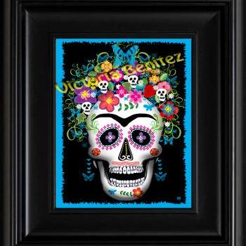 FRIDA KAHLO day of the dead BLUE SUGAR SKULL digital oil painting design 8