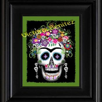 FRIDA KAHLO day of the dead GREEN SUGAR SKULL digital oil painting design 8