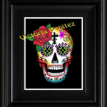 FRIDA KAHLO day of the dead ONE RED ROSE SUGAR SKULL digital oil painting design 8