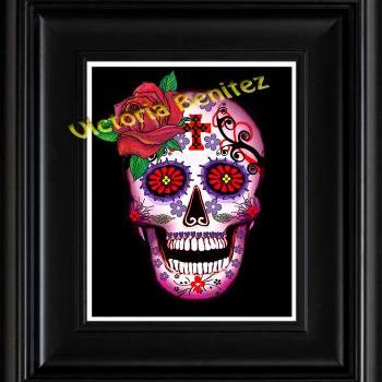 FRIDA KAHLO day of the dead PINK WITH RED ROSE SUGAR SKULL digital oil painting design 8