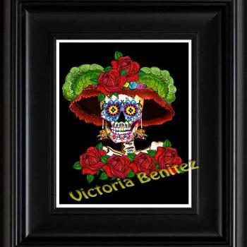 FRIDA KAHLO day of the dead MY CATRINA SUGAR SKULL digital oil painting design 8
