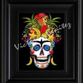 FRIDA KAHLO day of the dead RIO SUGAR SKULL digital oil painting design 8