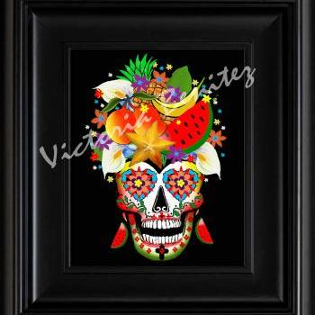 FRIDA KAHLO day of the dead RIO CALLA LILIES SUGAR SKULL digital oil painting design 8