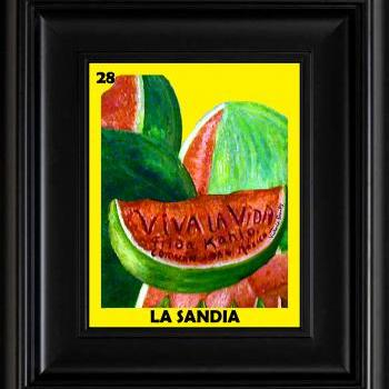 FRIDA KAHLO day of the dead LA LOTERIA LA SANDIA CARD digital oil painting design 8